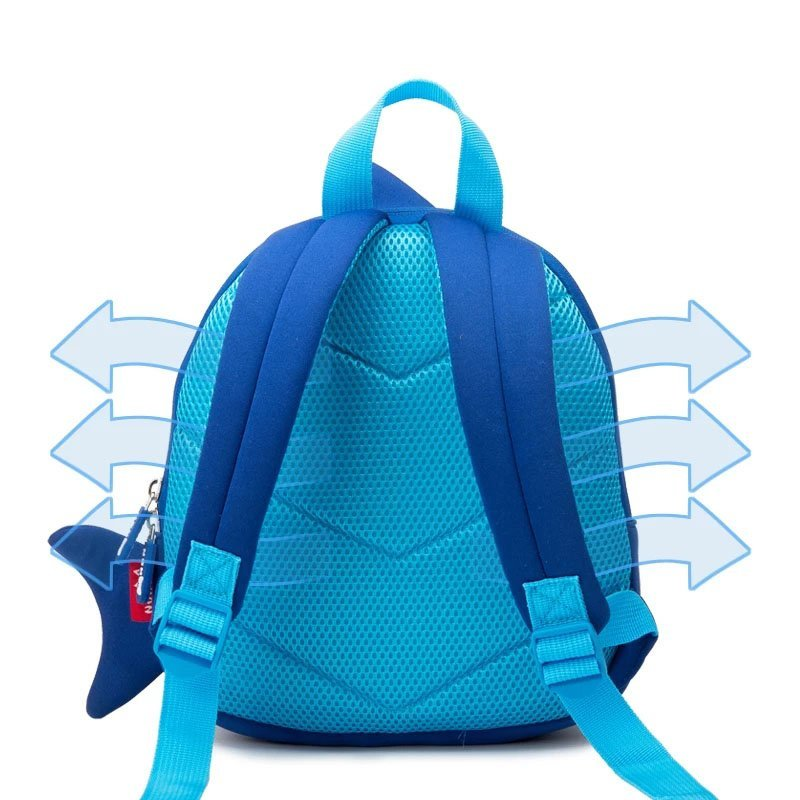 NH024 Shark design blue ultra-light environmental neoprene children backpacks