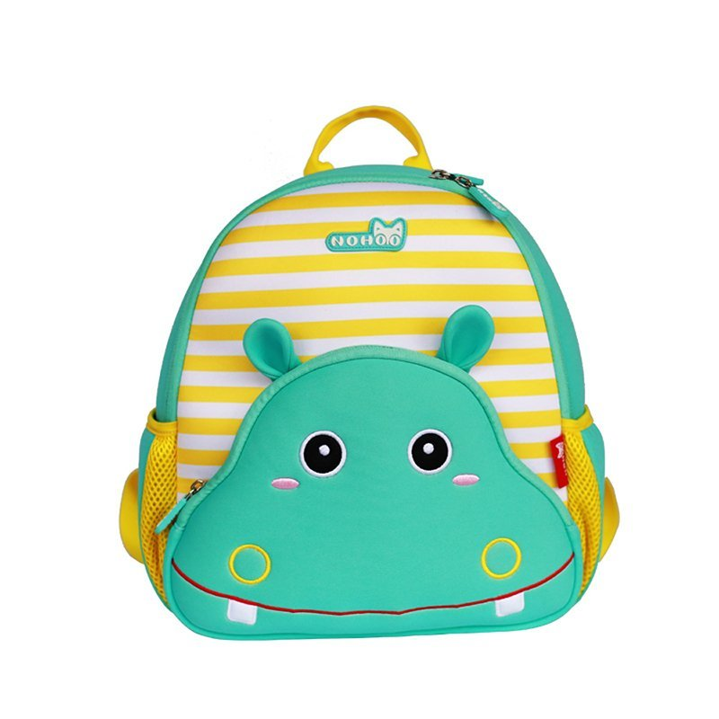 GY262 Hippo lovely Kids Shoulder Bag 3D Cartoon Zoo kindergarten book bag