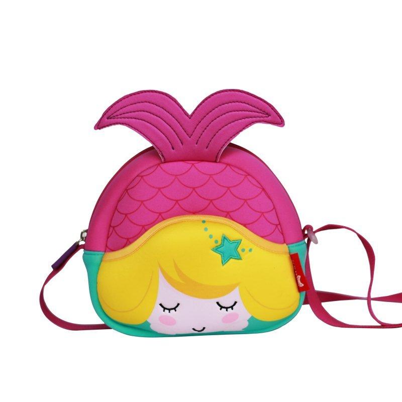 Custom high quality eco friendly neoprene mermaid kids messenger bag for girls