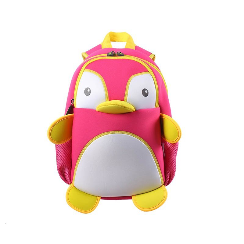 NH011 PenguinstyleNeopreneBackpackKids3DCartoonSchoolbagforboysandgirls