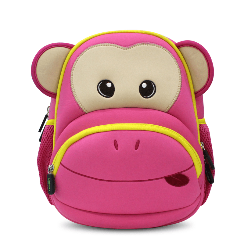 Neoprene Kid Backpack Cute Zoo animal monkey Cartoon Bag for boys