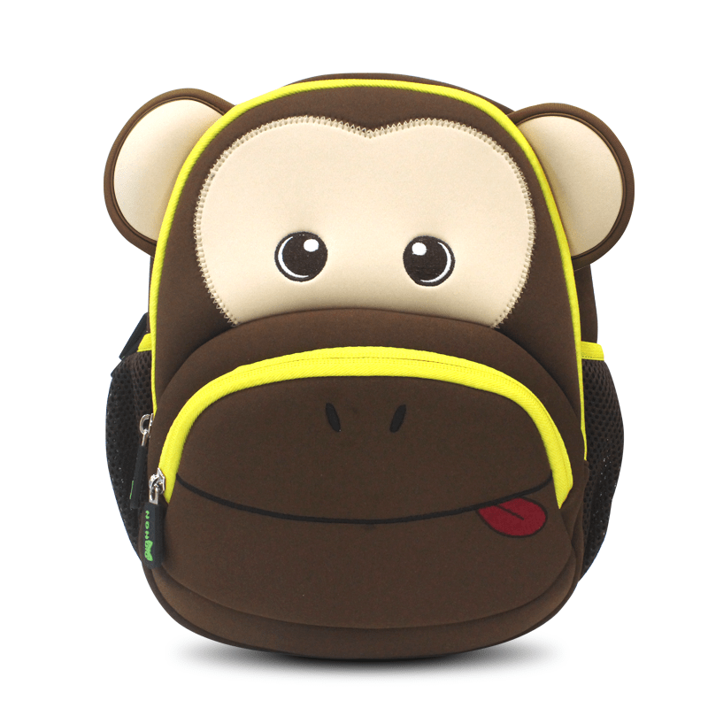 Neoprene Kid Backpack Cute Zoo animal monkey Cartoon Bag for boys