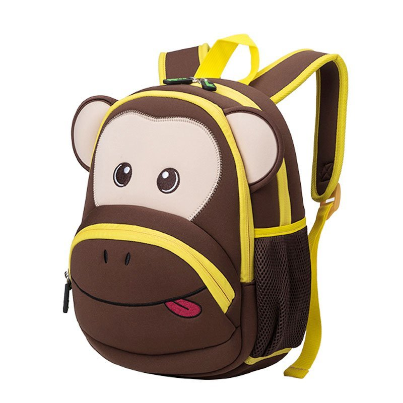 NH020 Neoprene Kid Backpack Cute Zoo animal monkey Cartoon Bag for boys