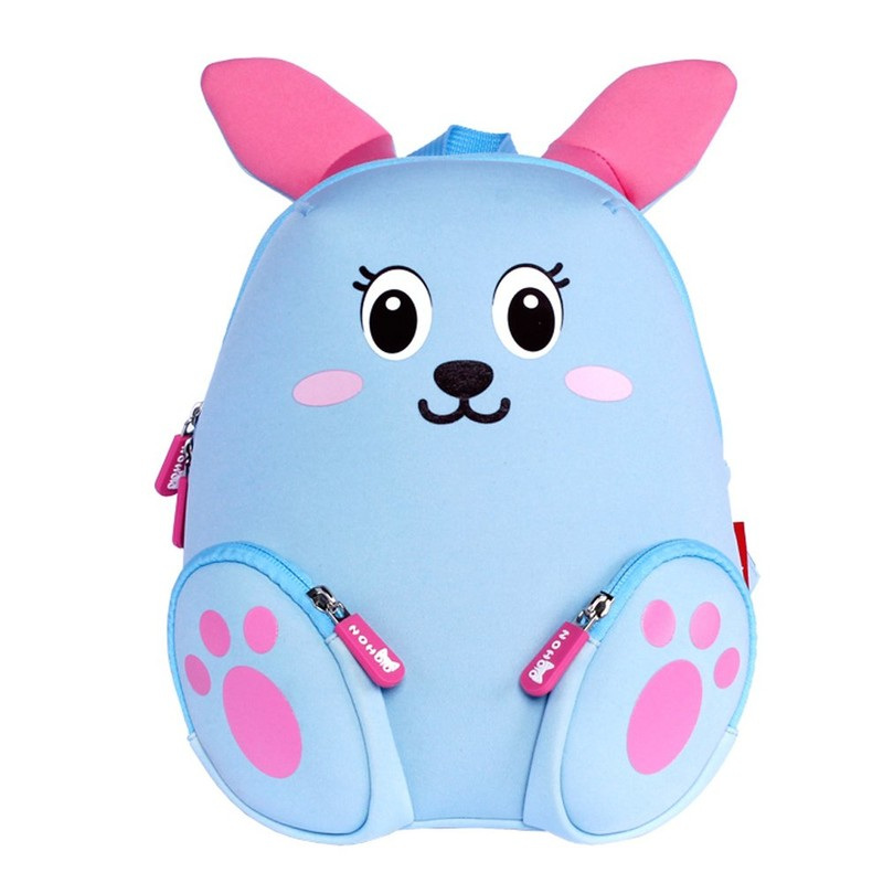 NH044 blue Rabbit Neoprene Kids Cartoon Backpacks for Children