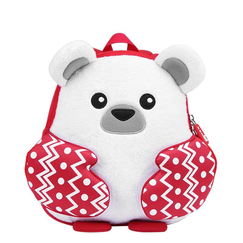2018 new design cartoon neoprene kids lightweight backpack with plush