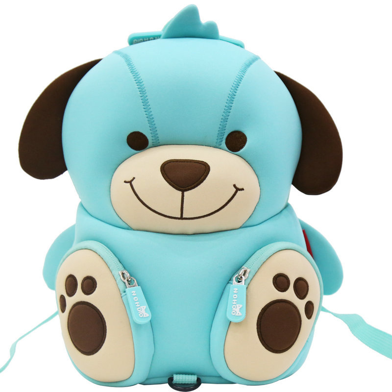NH079 Hot sale soft cute blue dog kids zoo animal backpack for boys girls