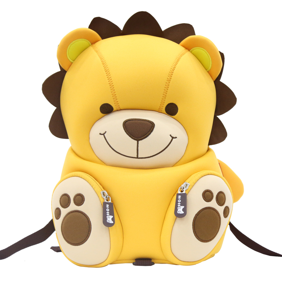 NH080 neoprene lovely lion cartoon book bag custom children rucksacks