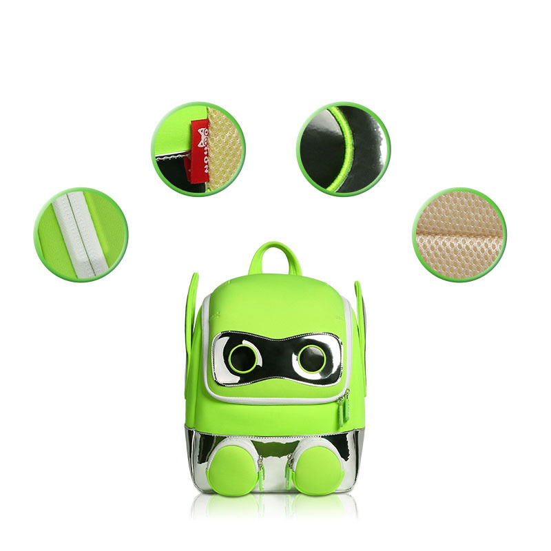 NH082 Primary 3D Students School bag neoprene safety Robot Backpack