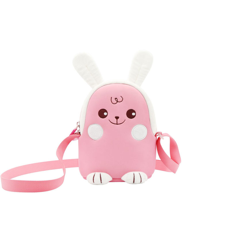 NHK013 New design pink rabbit lovely Cartoon animal Kids Messenger Bag For Girls